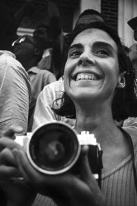 Maria Varela with her camera. Photograph by Matt Herron