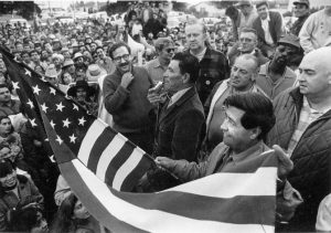 UFW rally with Marshall Ganz, AFL-CIO organizer Bill Kircher, Cesar Chavez, and others, 1970, The Bob Fitch Photography Archive, Stanford University